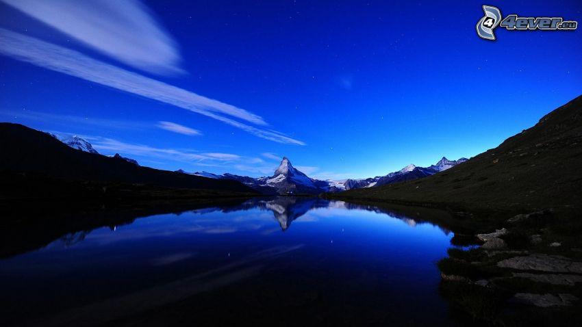 Matterhorn, sjö, kväll, klippigt berg