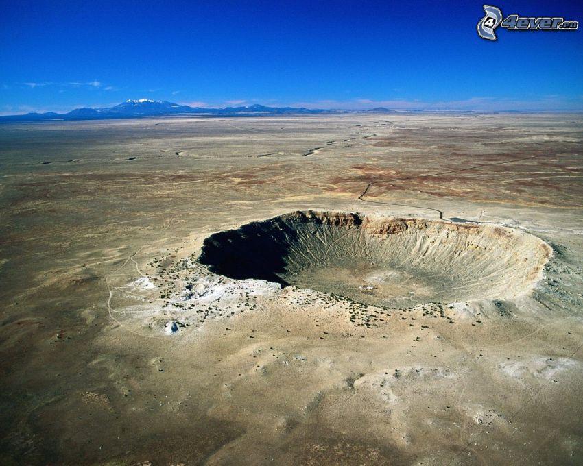 Meteor Crater, krater, bergskedja, Arizona, USA