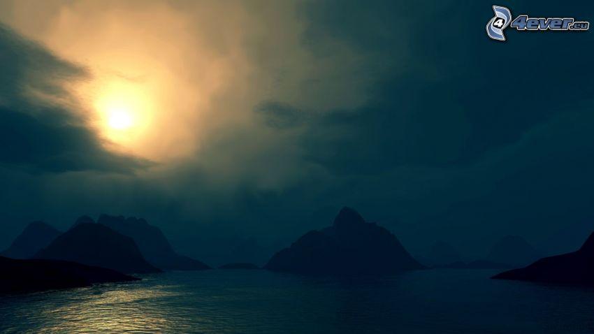 natt, sjö, steniga kullar