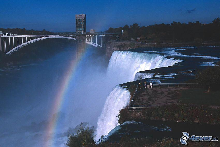 Niagaras vattenfall, regnbåge, utsikt, bro