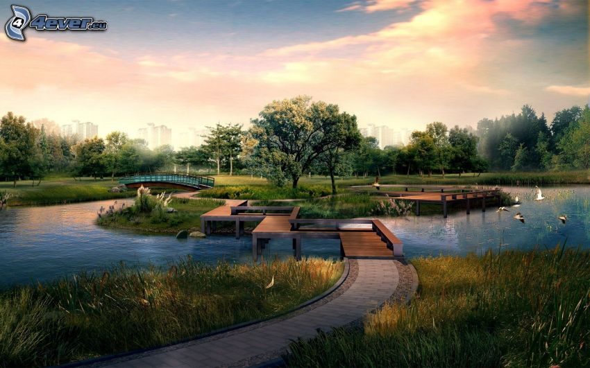 park vid solnedgången, sjö, trottoar, ö