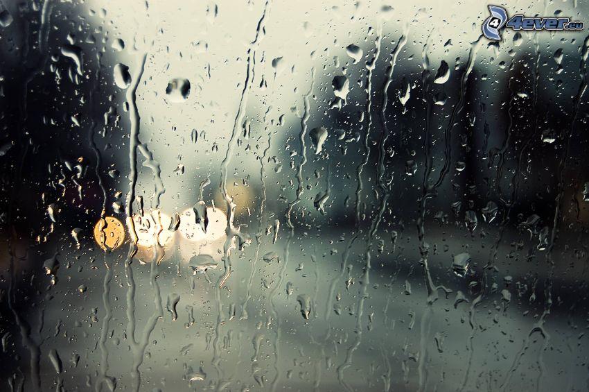 regndroppar, glas