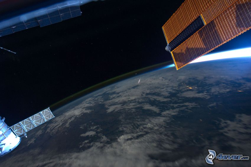 ISS ovanför jorden, planeten Jorden, atmosfär