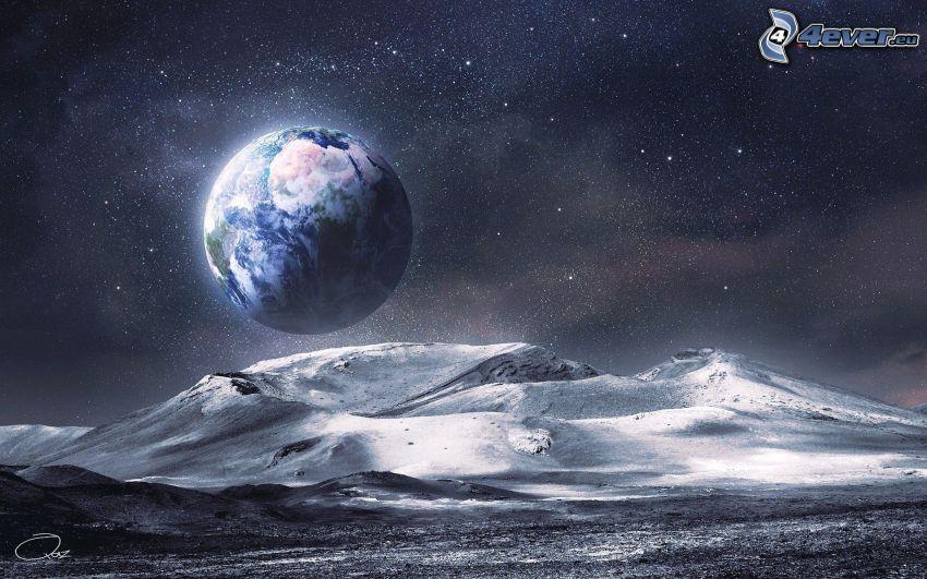 Jorden, bergskedja, digital konst