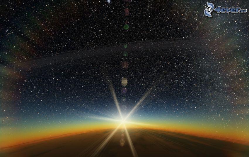 Jorden, soluppgång, stjärnor