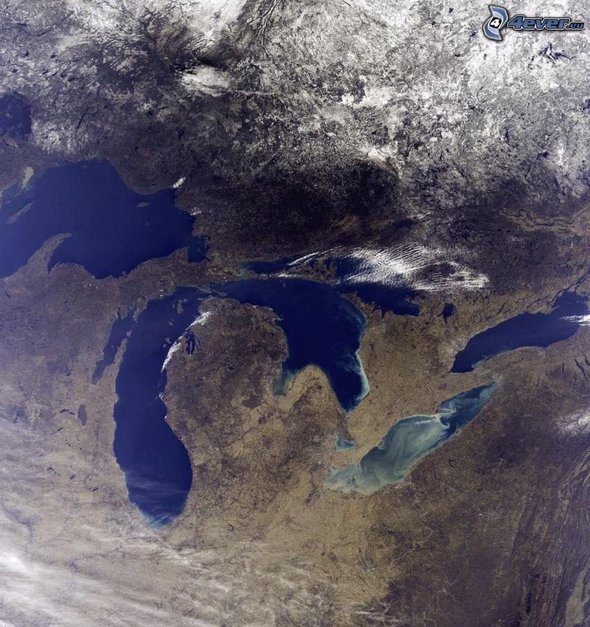 Kanadensiska Great Lakes, Kanada, USA, satellitbild, Jorden