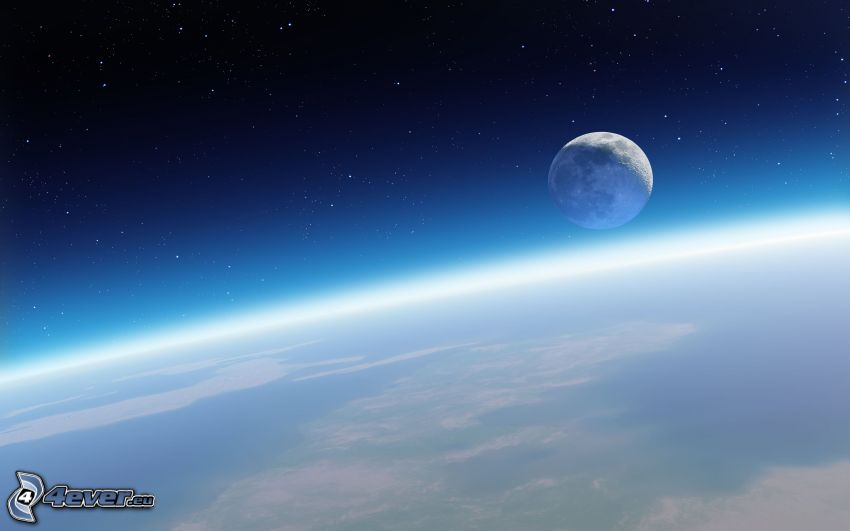 Månen, Jorden, atmosfär