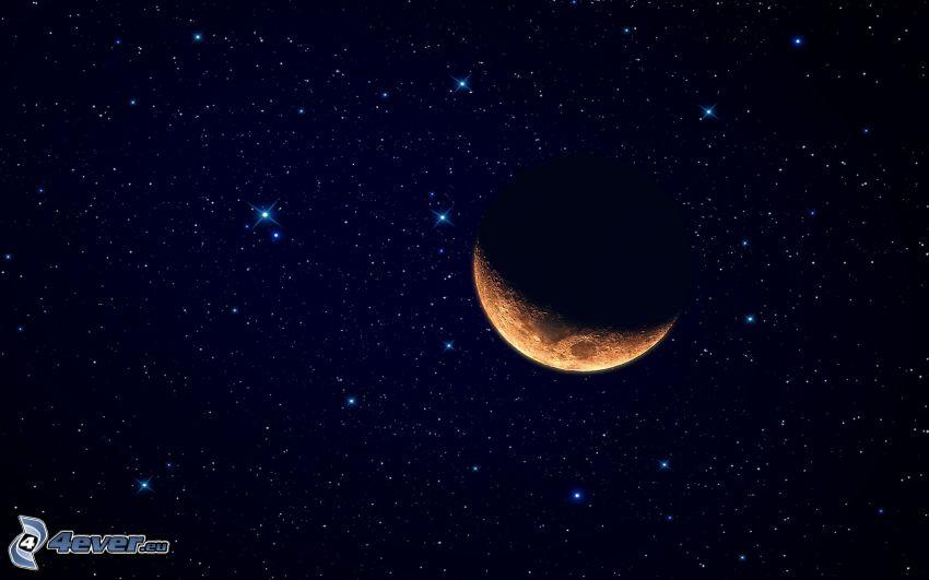 orange måne, stjärnor