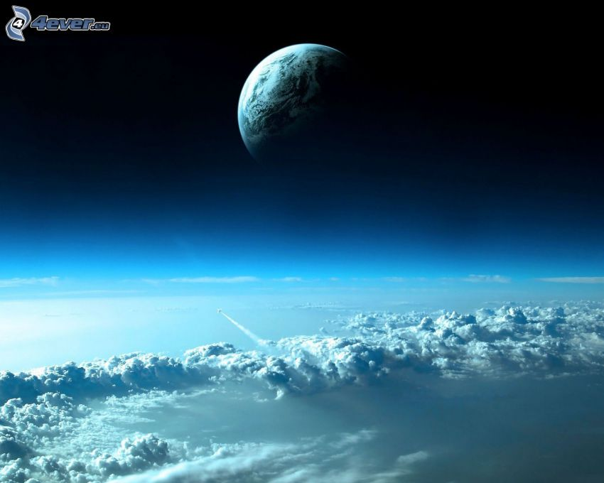 planet, ovanför molnen