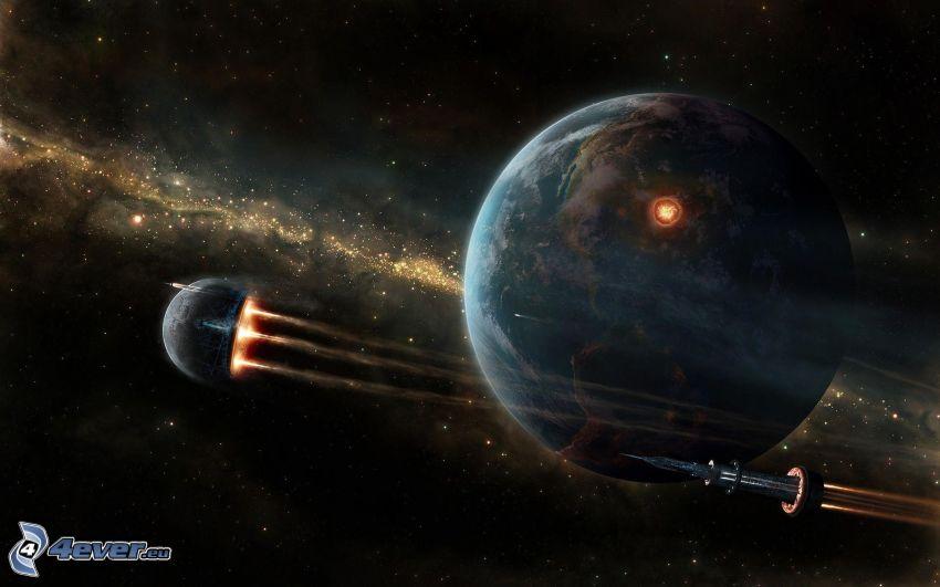 planeten Jorden, raket