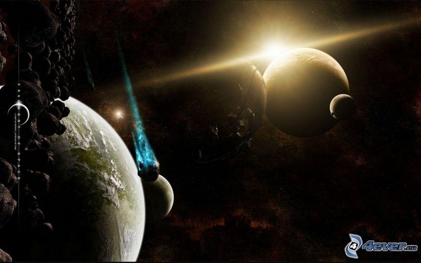 planeter, asteroider, rymdsken