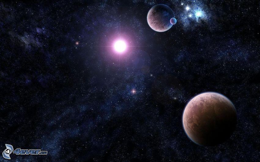 rymden planeter och stjärnor