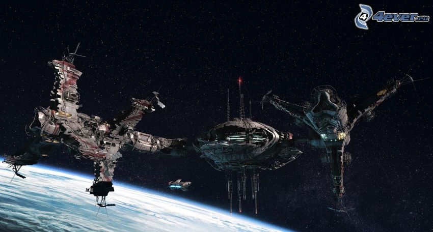 rymdskepp, science fiction, stjärnor