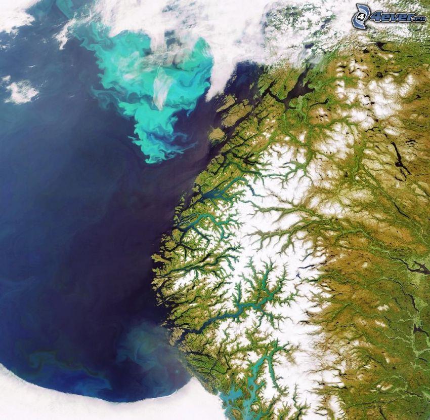 satellitbild, Norge, fjord