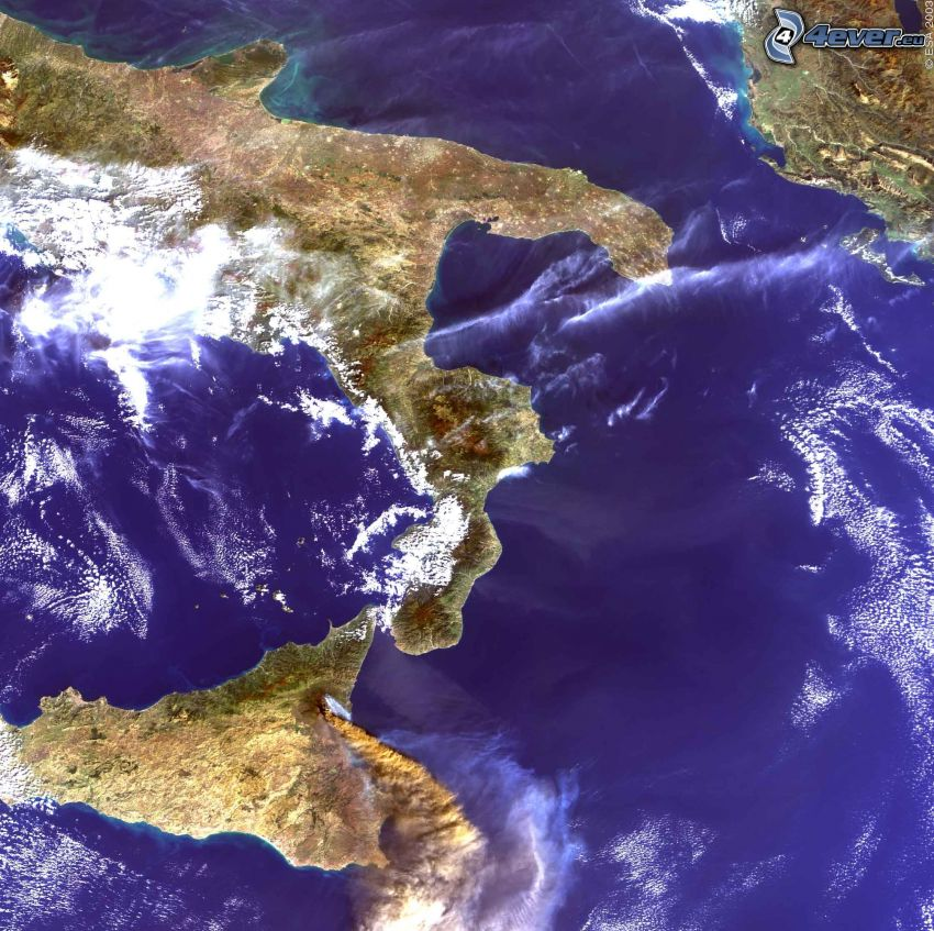 satellitbild, Sicilien, Italien
