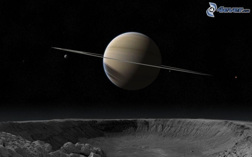Saturn, måne, krater