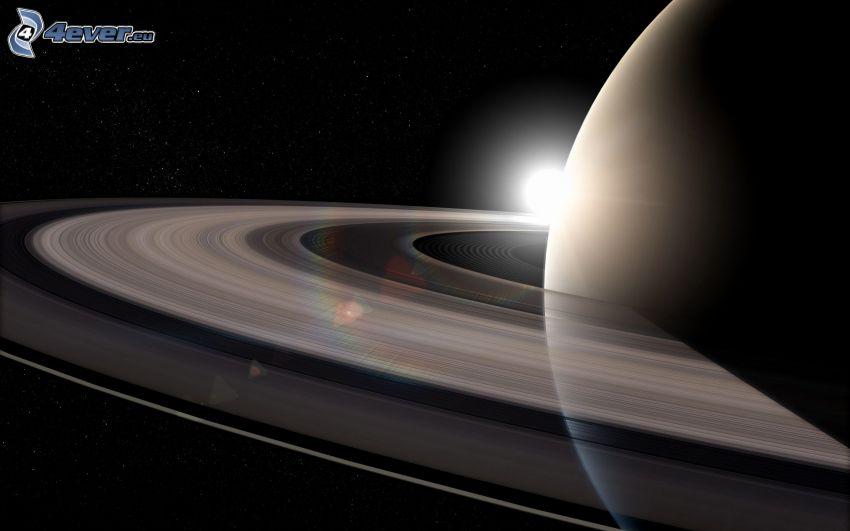 stjärna bakom planet, Saturn