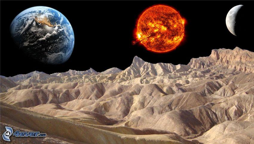 universum, planeten Jorden, sol, måne