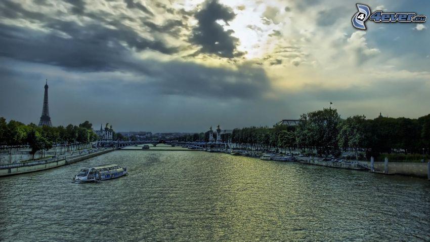 Seine, båt, Paris