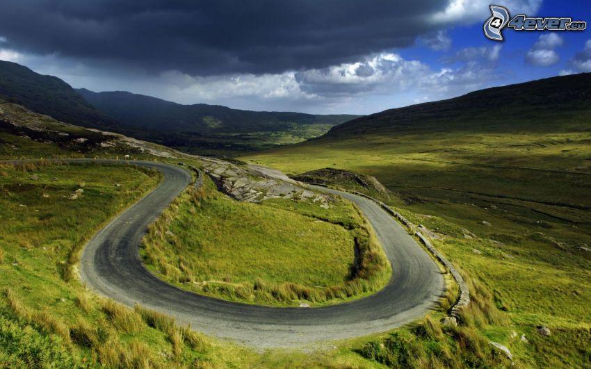 serpentinväg, väg, kurva, grönska, kullar