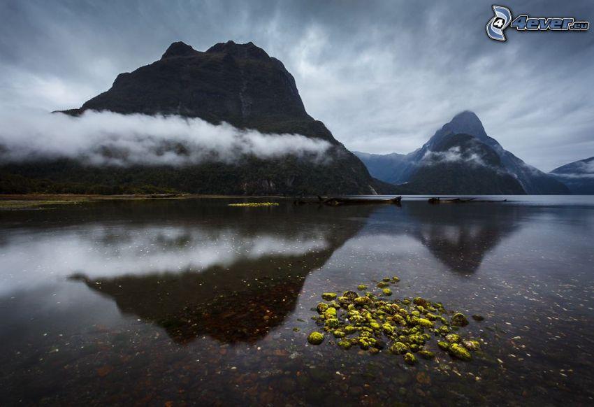 sjö, berg, moln, spegling