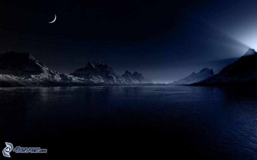 sjö, bergskedja, måne, natt