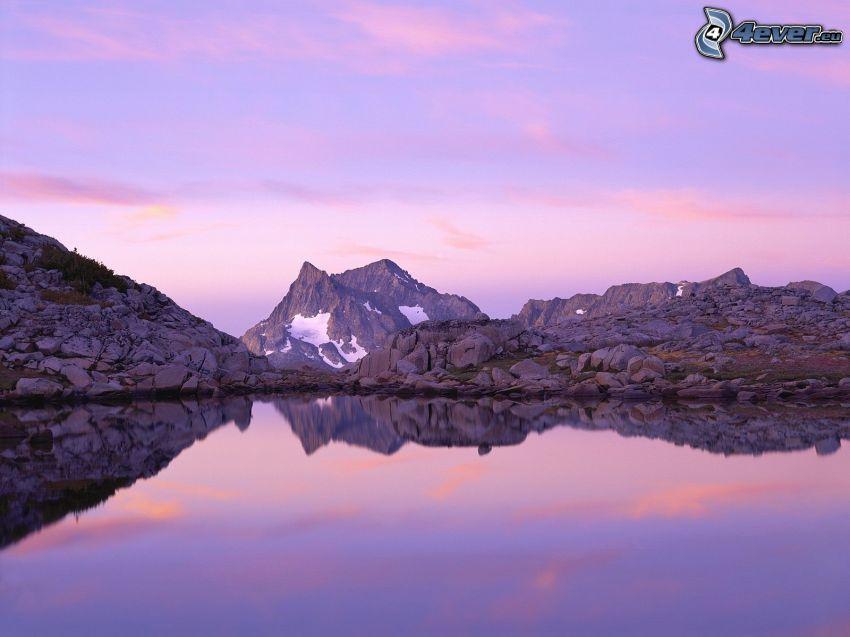 sjö, klippor, klippigt berg, snö, kväll