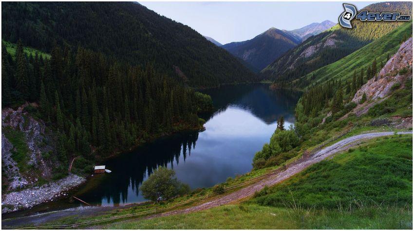 sjö, kullar, hus, träd, utsikt