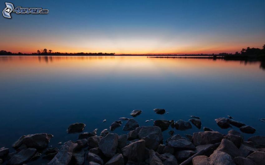 sjö, kvällshimmel, stenar
