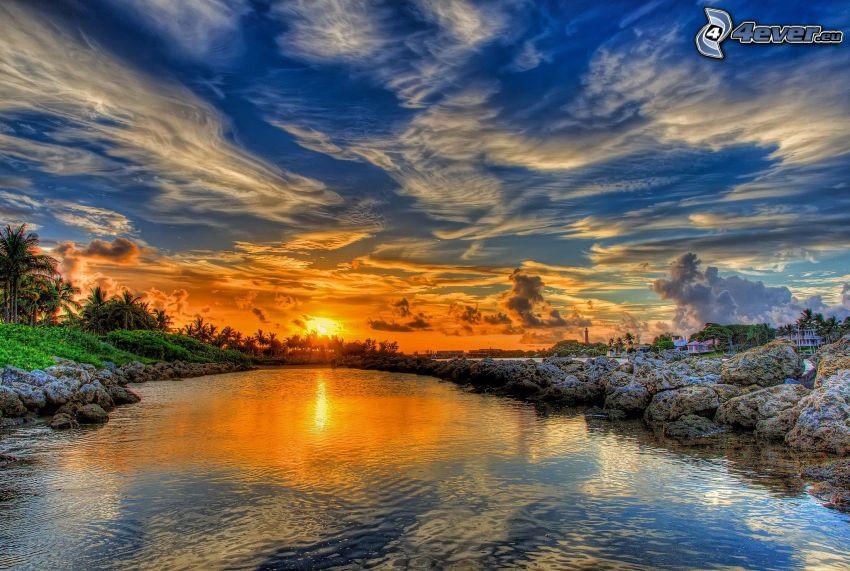 sjö, solnedgång, HDR