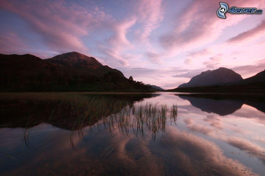 sjö, spegling, solnedgång