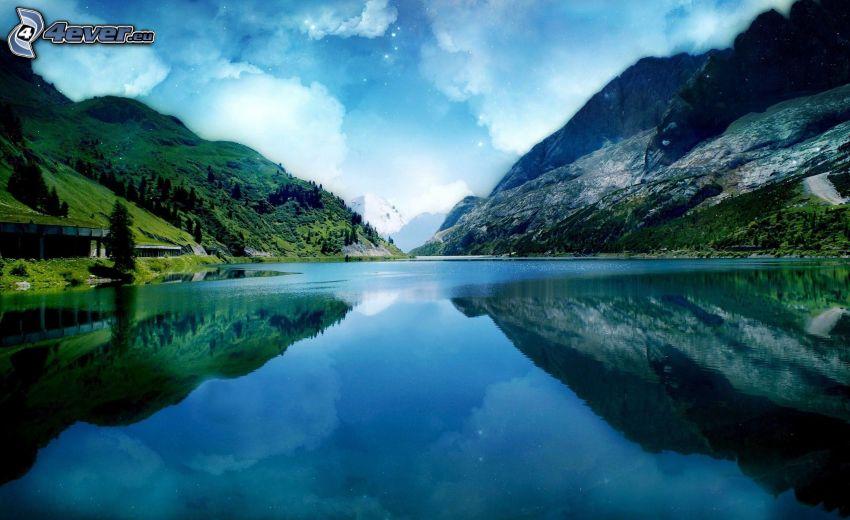 sjö, steniga kullar, spegling, moln