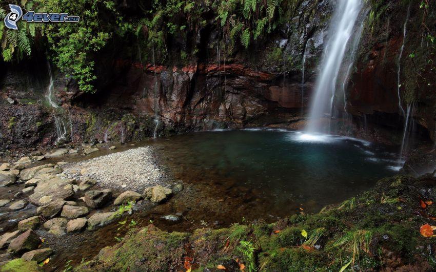sjö i skogen, vattenfall, klippor