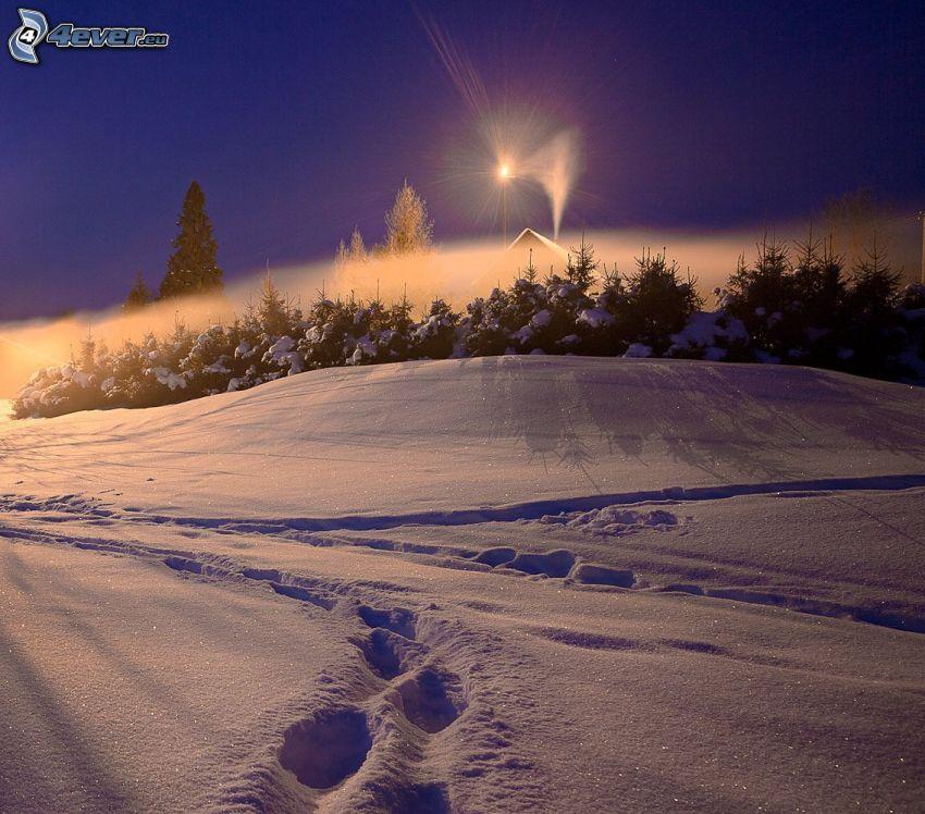 snöig backe, spår i snön, sken