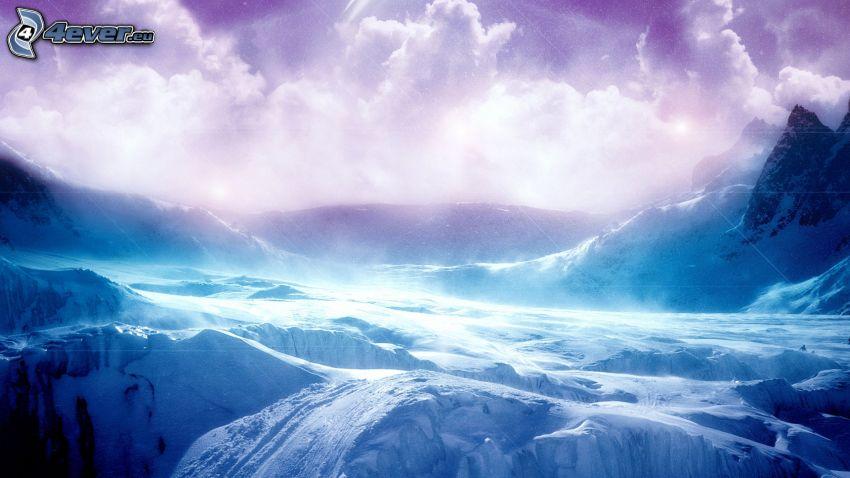 snöig bergskedja, snö, lila himmel