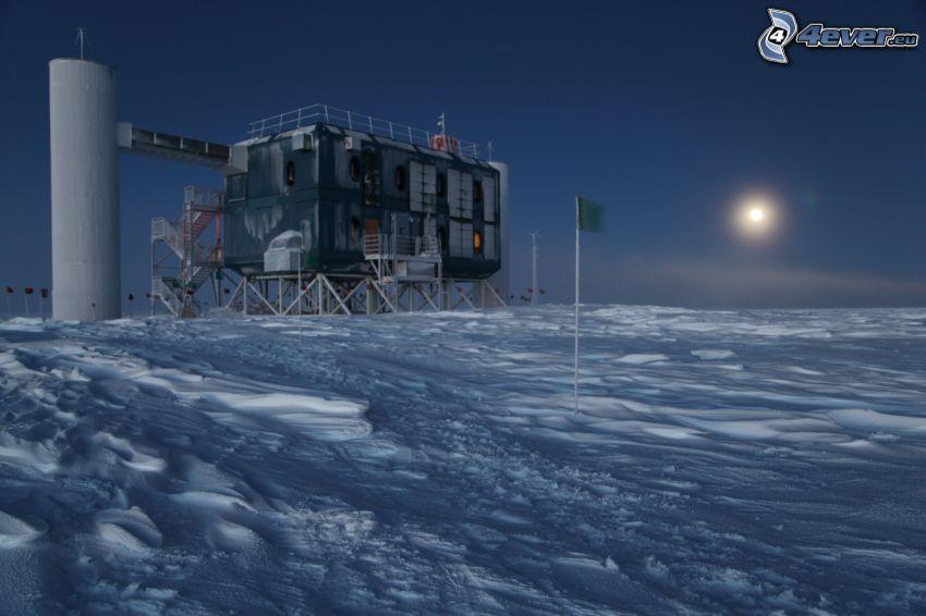 snöigt landskap, natt