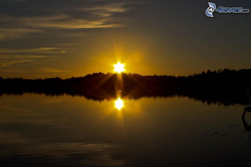 solnedgång, flod