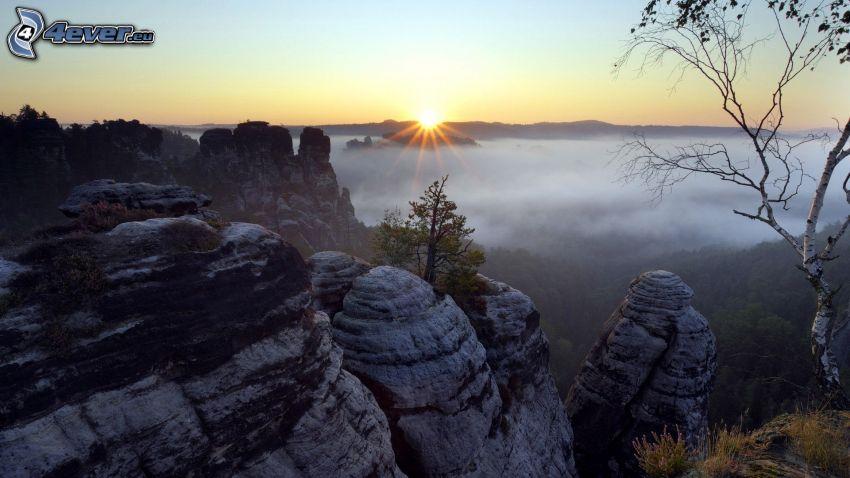 solnedgång, klippor, inversion