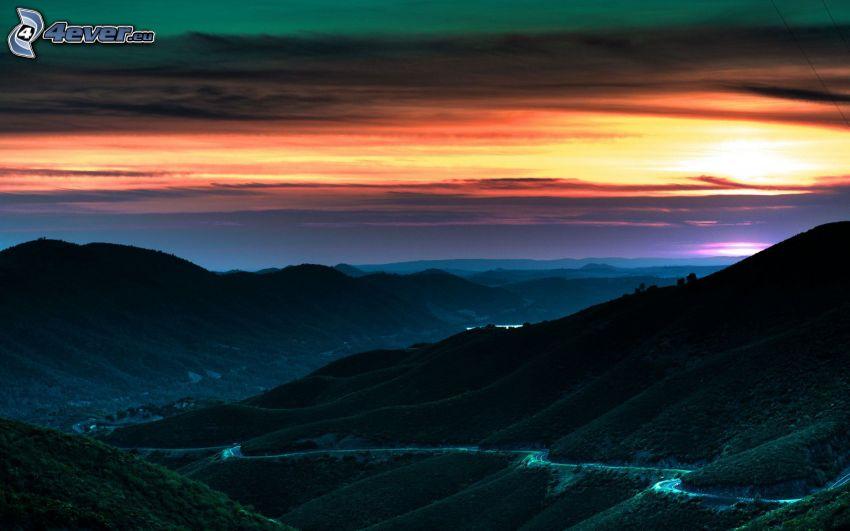 solnedgång, kvällshimmel, berg