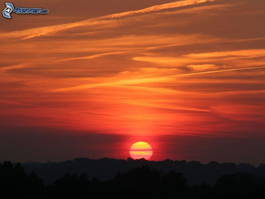 solnedgång, kvällshimmel, kondensationsspår