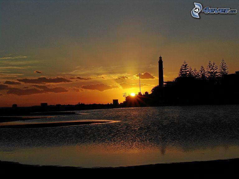 solnedgång bakom sjö, fyr, silhuett, siluetter av träd