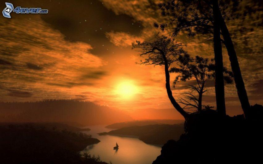 solnedgång över flod, orange himmel, siluetter av träd