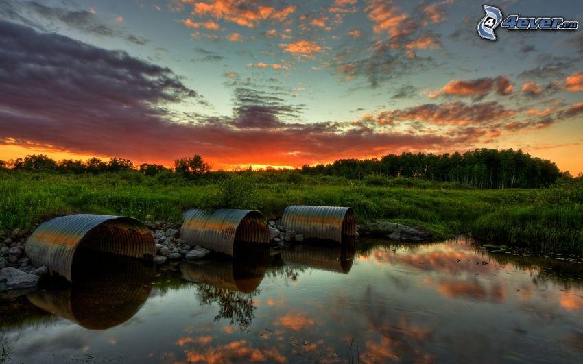 solnedgång över våtmarker, grönska, tunnor