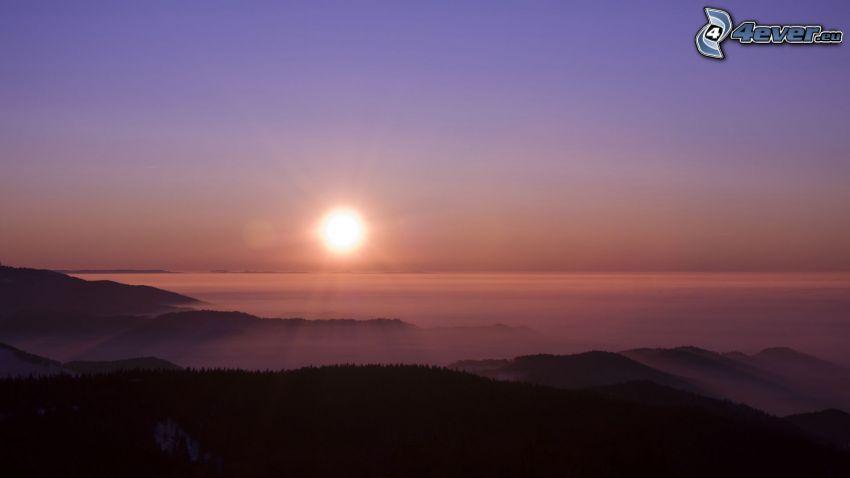 soluppgång, inversion, landskap, kullar