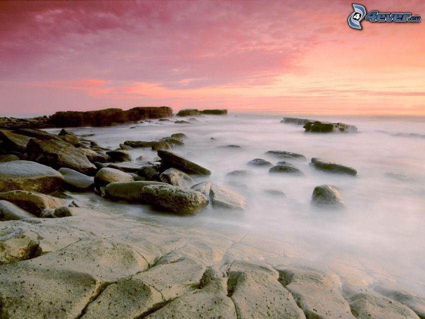 stenar, ånga, himmel