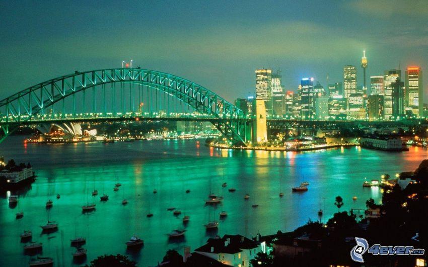 Sydney Harbour Bridge, nattstad, Sydney, skyskrapor