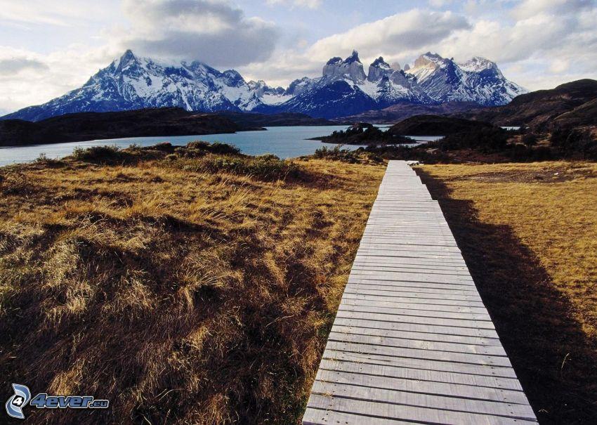 Torres del Paine, träbrygga, snöklädda berg, flod, åker