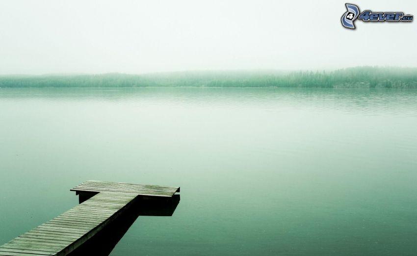 träbrygga, sjö, dimma
