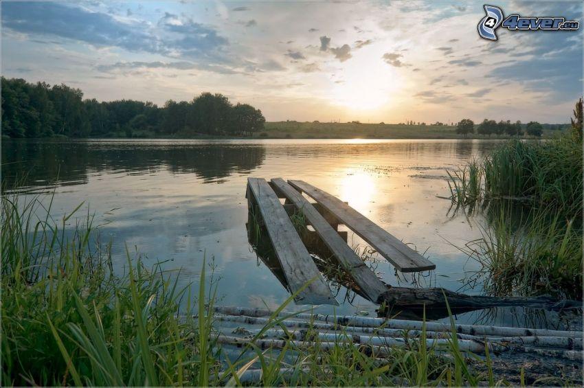 träbrygga, sjö, kväll, solnedgång över sjö