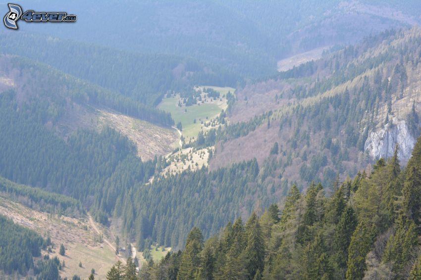 utsikt över dal, berg, Malá Stožka, Slovakiska malmbergen